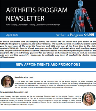 Image of Arthritis Newsletter April 2020