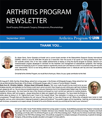 Arthritis Newsletter September 2020