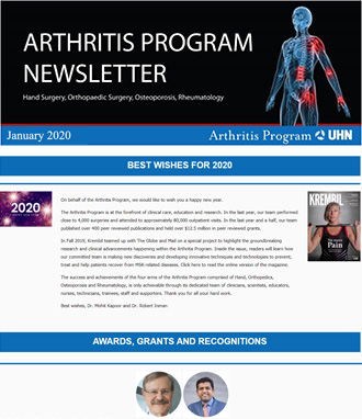 Image of Arthritis Newsletter January 2020