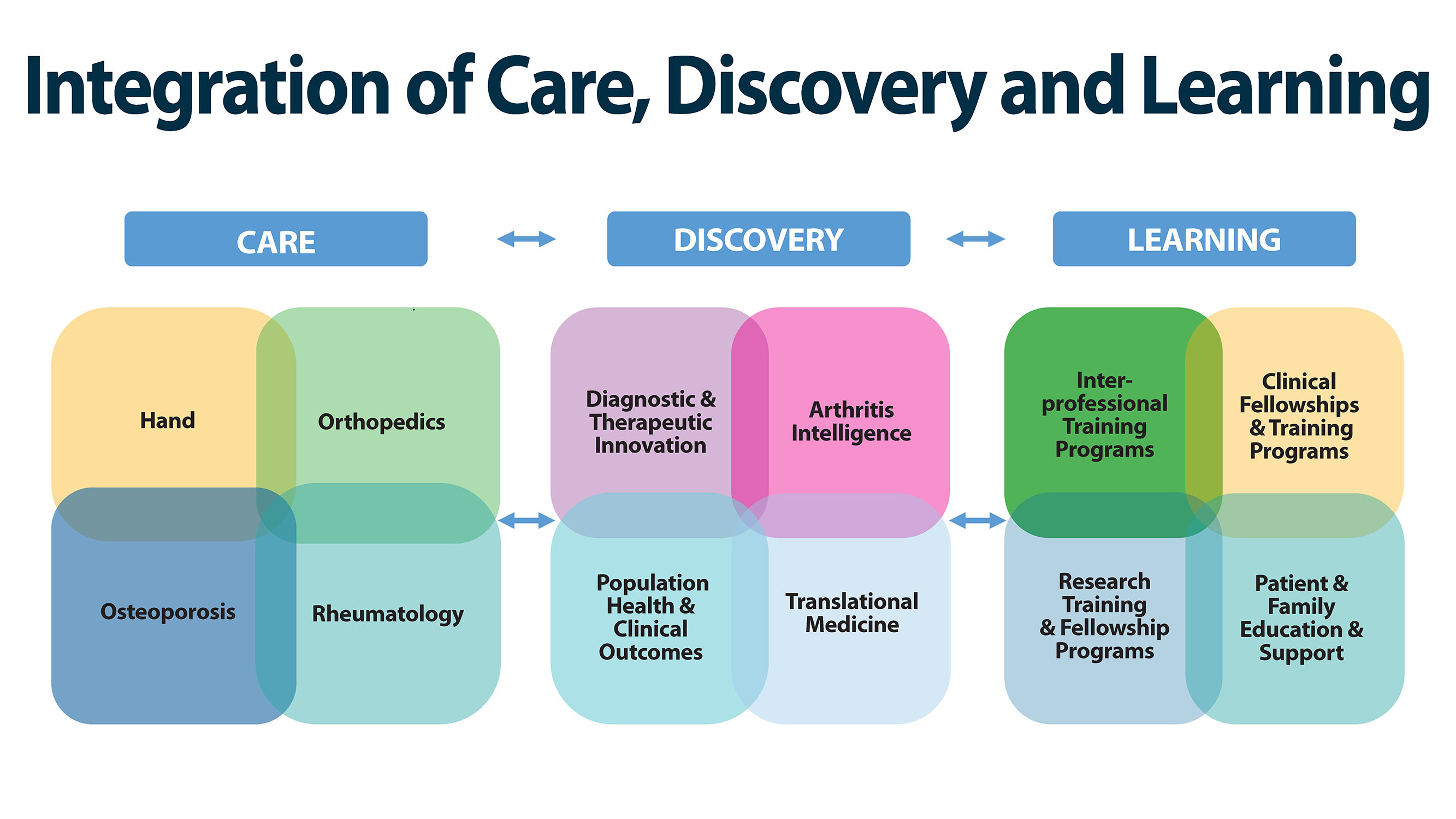 Integration of Care, Discovery and Learning. 1. Care: Hand, Orthopedics, Osteoporosis, Rheumatology. 2. Discovery: Diagnostics and therapeutic innovation; arthritis intelligence; population health and clinical outcomes; translational medicine. 3. Learning: Interprofessional training programs; clinical fellowships and training programs; research training and fellowship programs; patient and family education and support