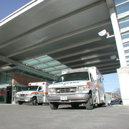 Images of ambulances at the emergency department