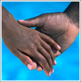 Two people holding hands on a blue background