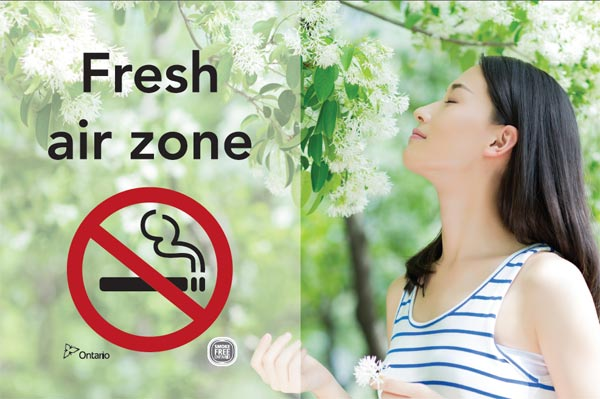 Women smelling a fresh air zone