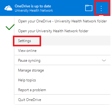 OneDrive Sync App Settings