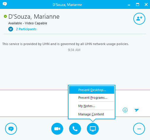 Screen Sharing Feature in Skype for Business