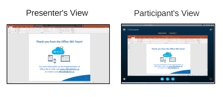 Presenter vs. Participants screen view when screen sharing in Skype for Business