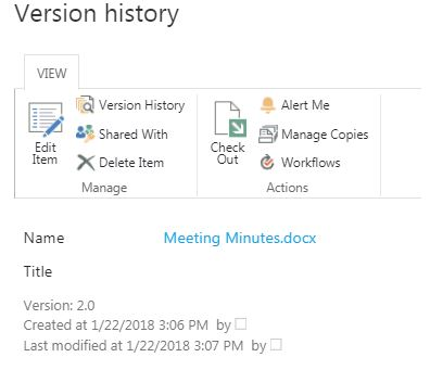version history dialog box
