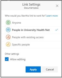 Share Window with UHN Users Options