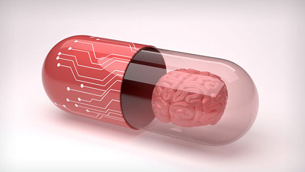 shot of pill capsule with brain in it