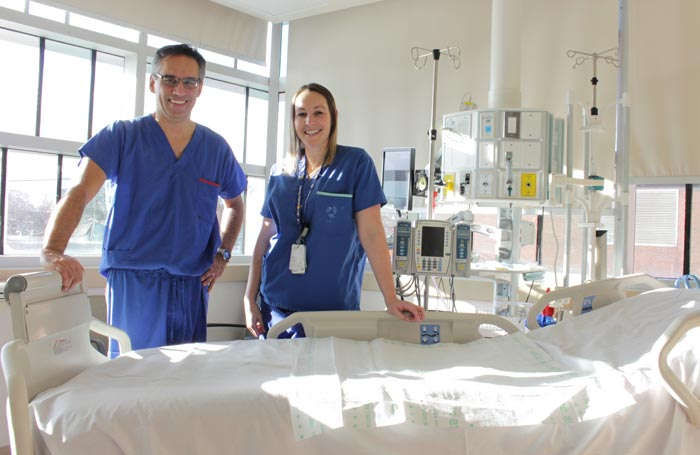 Dr. Singh and Jenn Leblanc in ICU