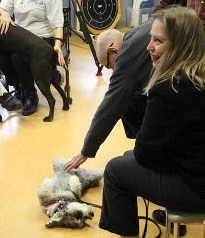 the therapy dog enjoys a belly rub from an inpatient