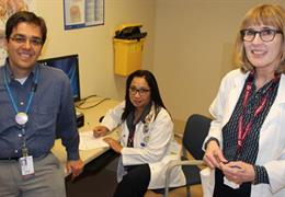 Dr. Eduard Bercovici, left, clinic nurse Chari Anor and registered dietitian Debra MacGarvie
