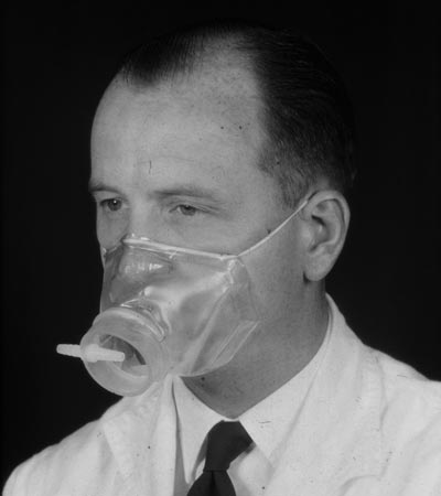 Dr. Fairley wearing oxygen mask