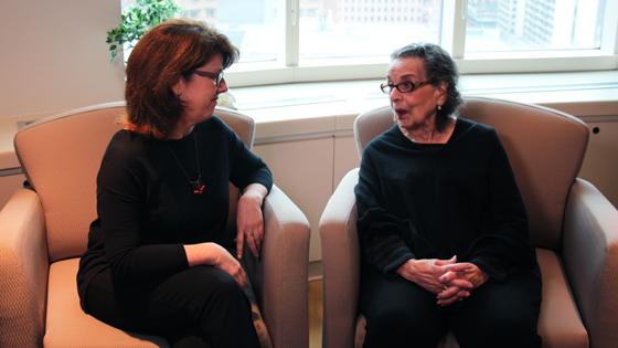 Valerie Heller (L), a social worker at Princess Margaret Cancer Centre, chats with Ruth Pike.